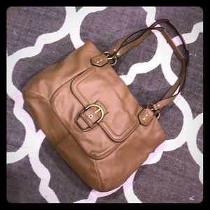 Camel leather Coach purse
